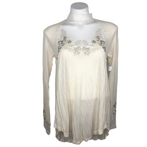 NWT Free People Cream/Ivory Lace Blouse